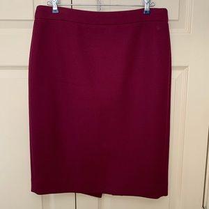 J. Crew Burgundy wool pencil skirt